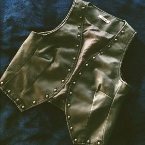 Faux leather cropped studded vest